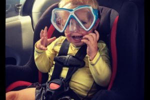 My son, clearly excited for snorkeling and beach time!