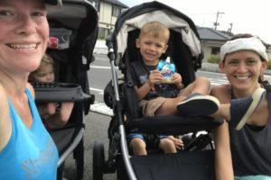 Mid-run ice cream break. Two moms, four kids, ten miles!