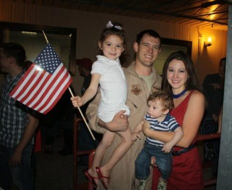 Homecoming for (then) Capt. Dustin Hudson following his deployment along with the 510FS Buzzards to Afghanistan in 2010.
