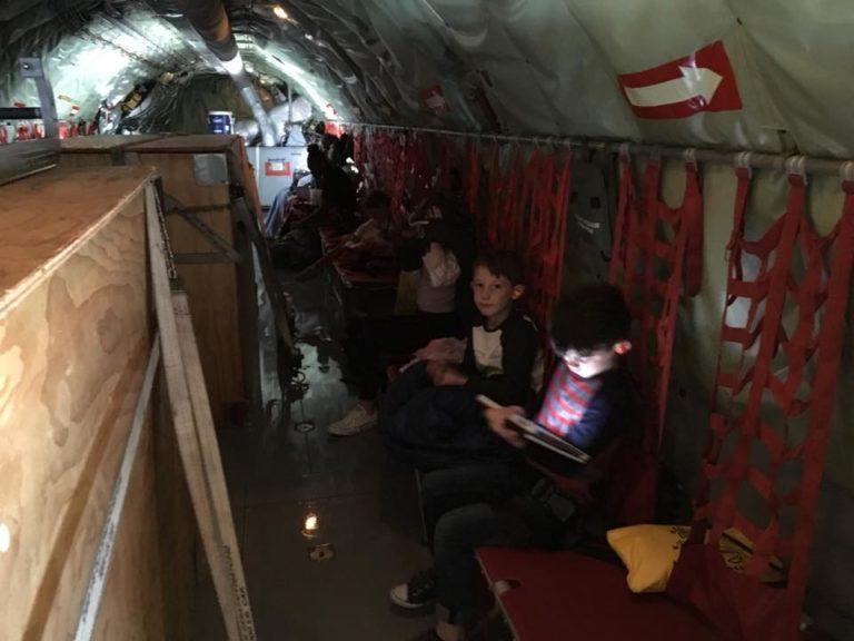 kids activities on KC-135 flight