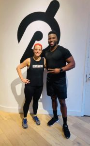 Kate at the Tread studio with the very amazing instructor, Chase