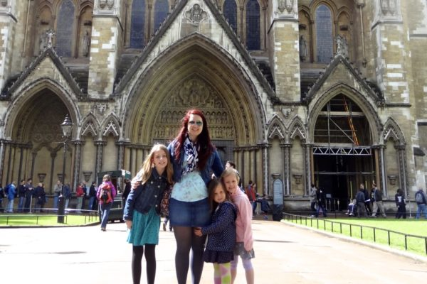 family outside Westminster Abbey