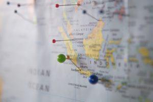 pins on world map