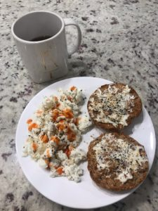 My usual breakfast. Egg whites, an English muffin, and Laughing Cow Cheese with Everything But the Bagel Seasoning and lots of hot sauce