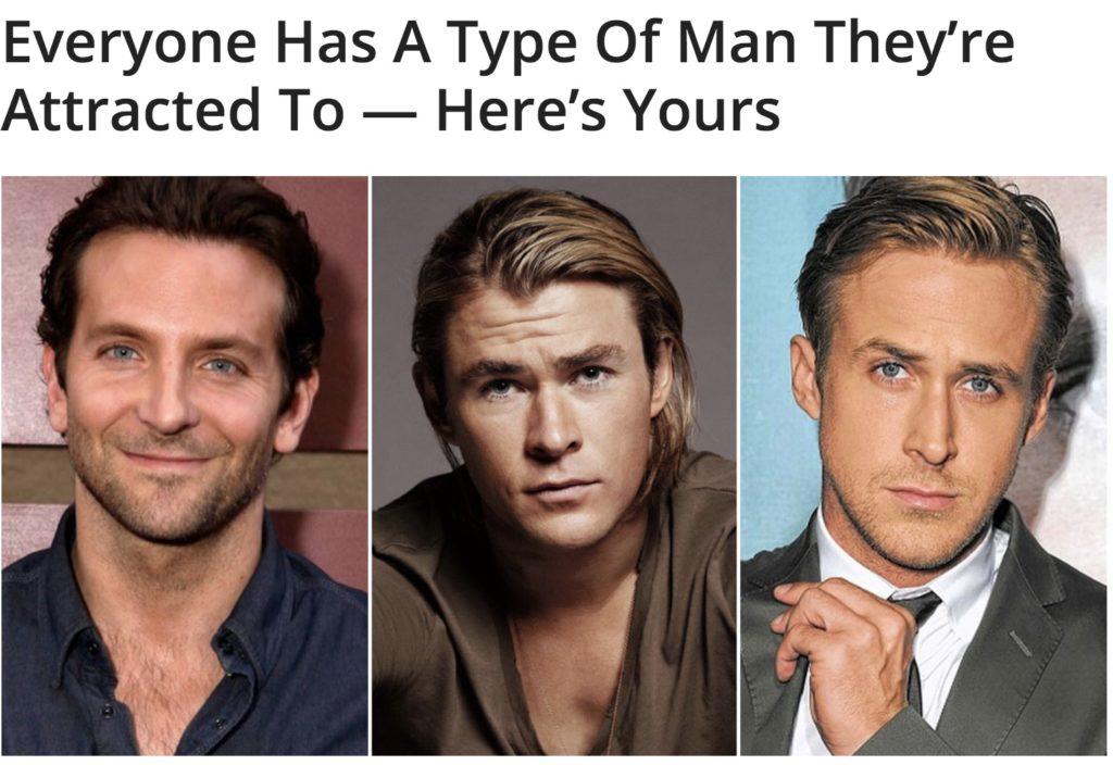 quiz attractive man type chris hemsworth ryan and bradley cooper