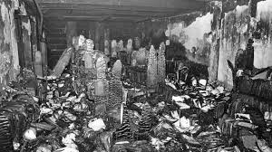 damage from Los Angeles library fire 1986