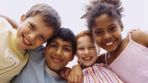 children huddled together
