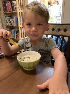 child eating ice cream while sick