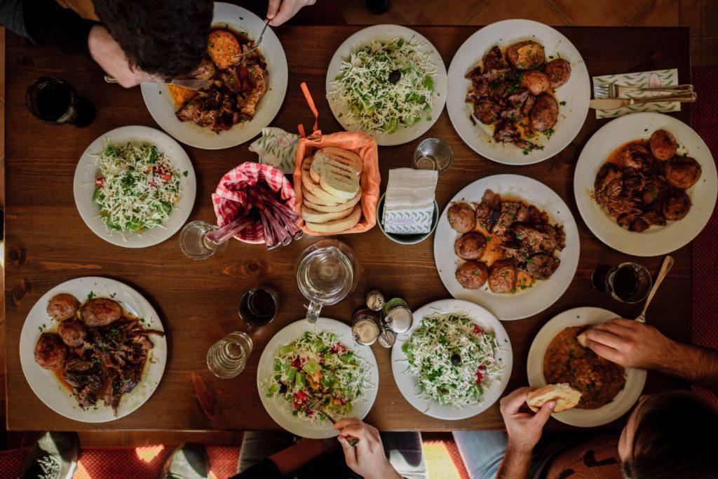 comfort food on a dinner table