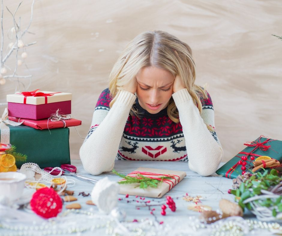 holiday stress woman with presents