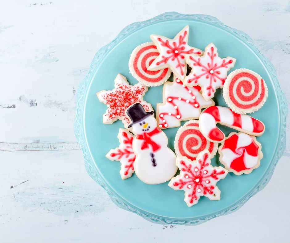 christmas cookies on blue plate