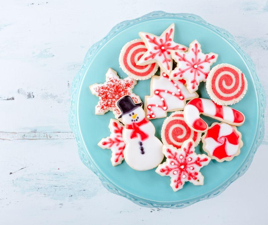 christmas cookies on blue plate