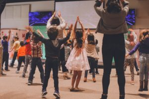 kids and parents dancing
