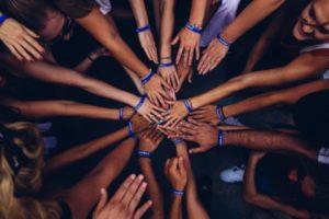 hands together for team-building