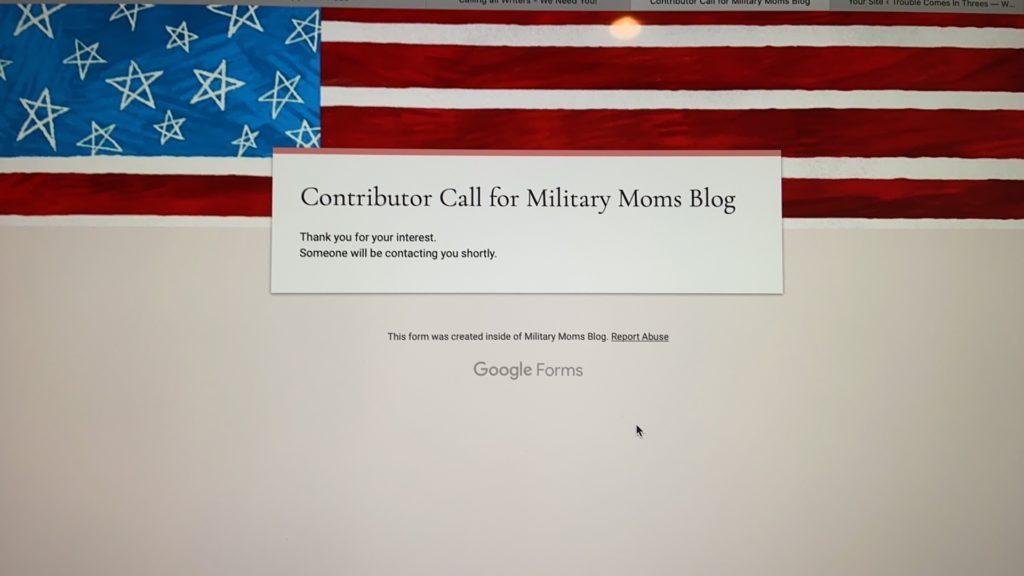 Contributor call for military moms blog