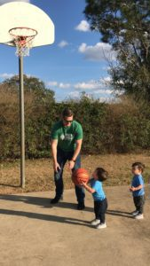 dad playing with kids on ordinary day