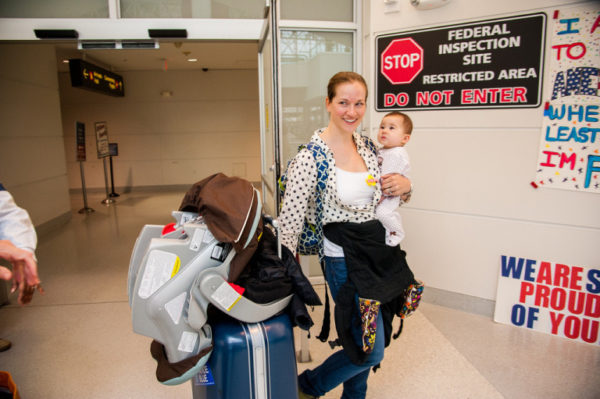mom traveling with small child