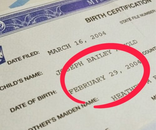 Leap Day Baby birth certificate