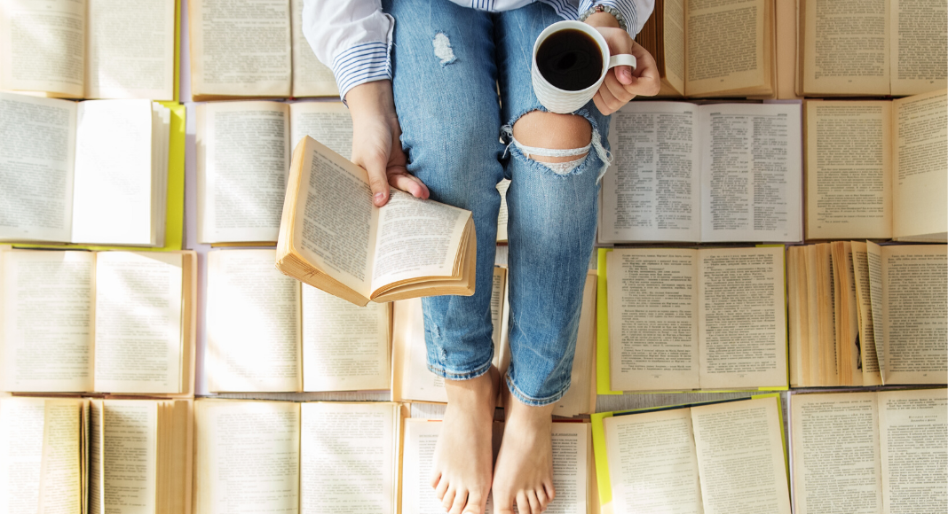 woman reading books with coffee