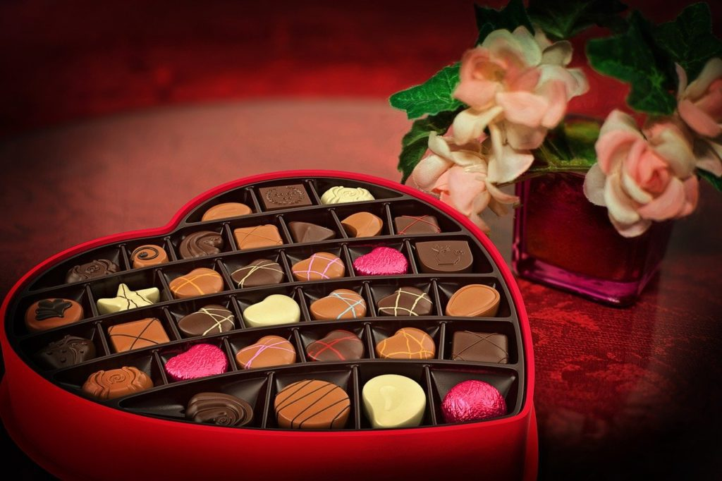 valentine's day chocolates and flowers