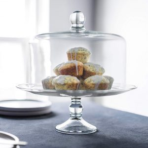 muffins on a glass cake stand