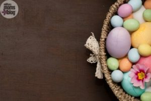 easter basket with eggs on brown background