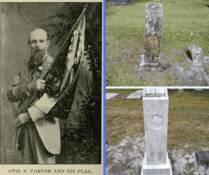 veterans' tombstones and a picture of Otis Tarver