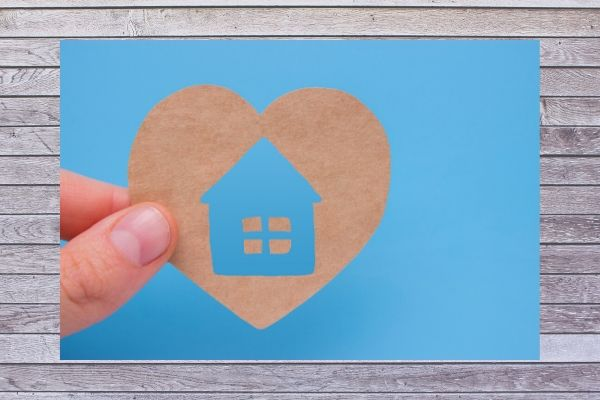 home on a blue background with whiteboard