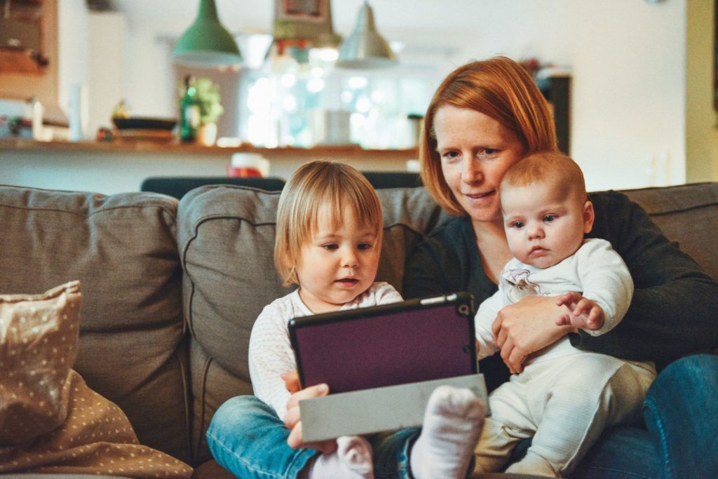 family watching on a tablet
