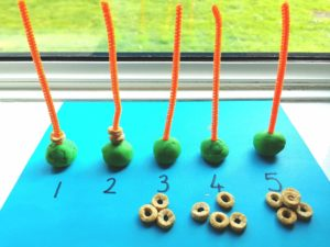 Playdough pipecleaner fine motor skill counting
