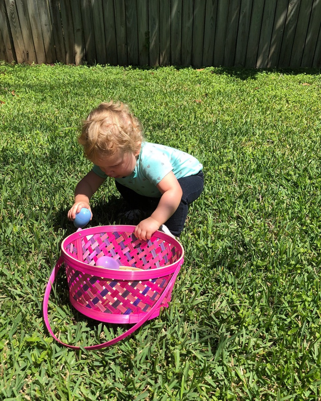 child on an easter egg hunt