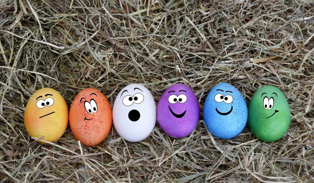 easter eggs on straw