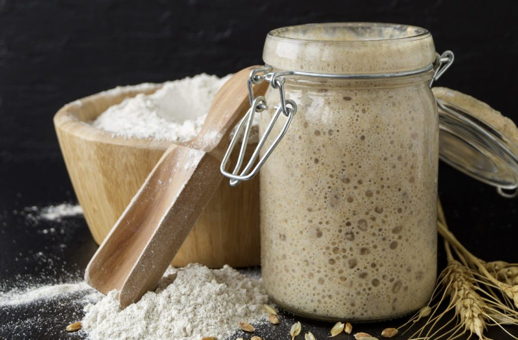 sourdough starter in a glass jar