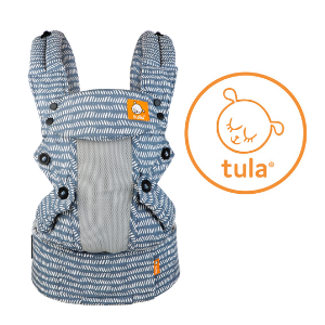 Tula baby carrier in cute blue with white accents and mesh panel