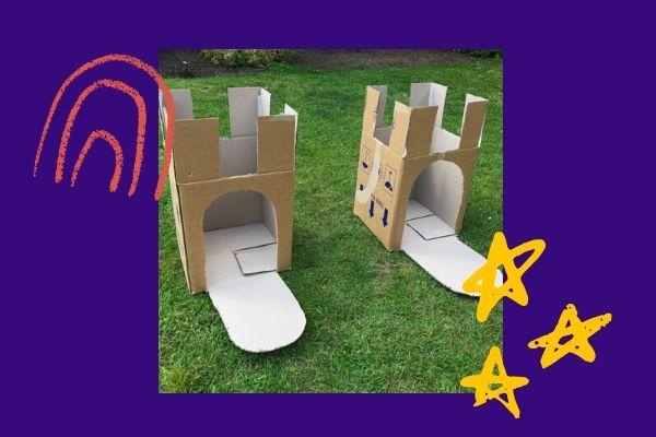 cardboard castles on purple background