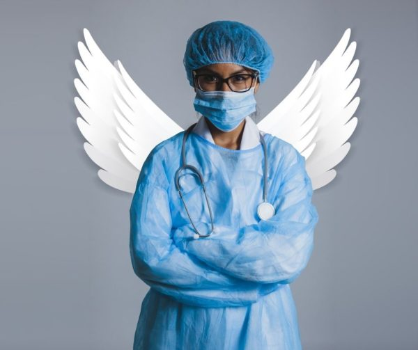 healthcare worker in mask with wings