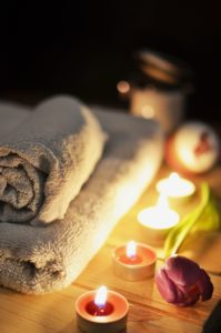 candles and towels in a relaxing scene