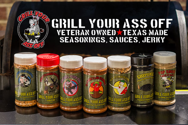 "Jars of spices lines up from Grill Your Ass Off; ""Veteran owned, Texas made. Seasonings, sauces, and jerky"""