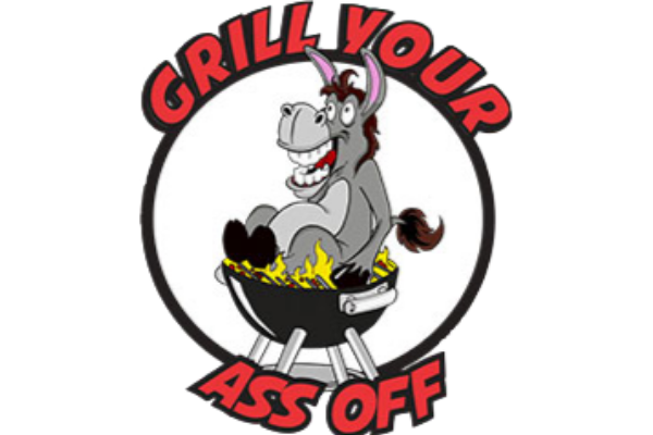 logo with a donkey sitting on a grill