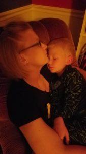 mom and son sleeping