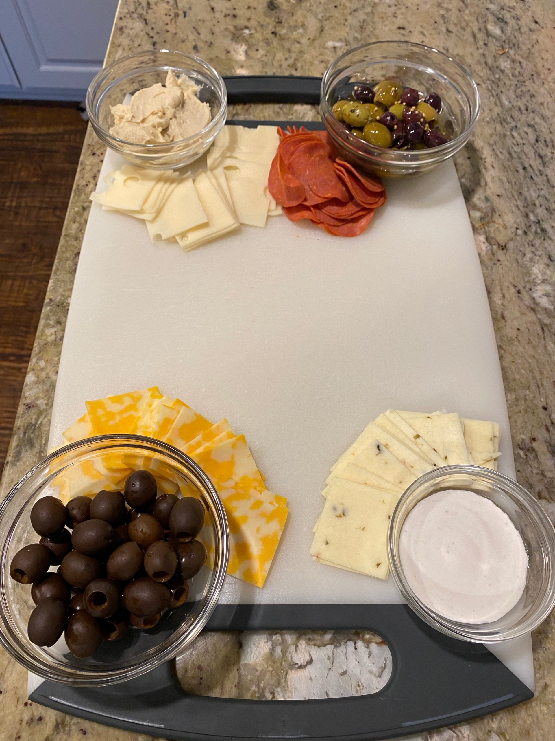 cutting board with snacks