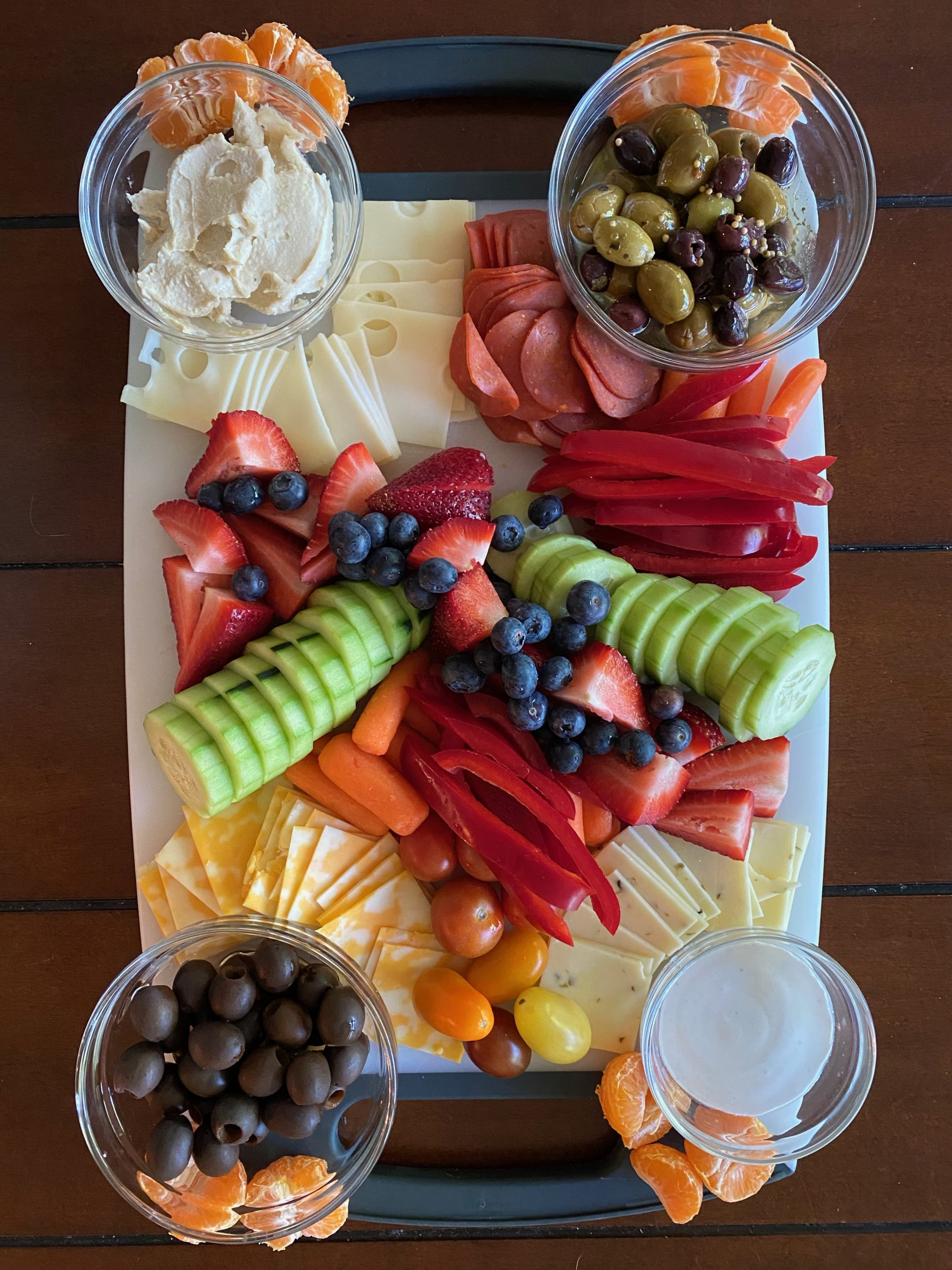 cutting board with various foods
