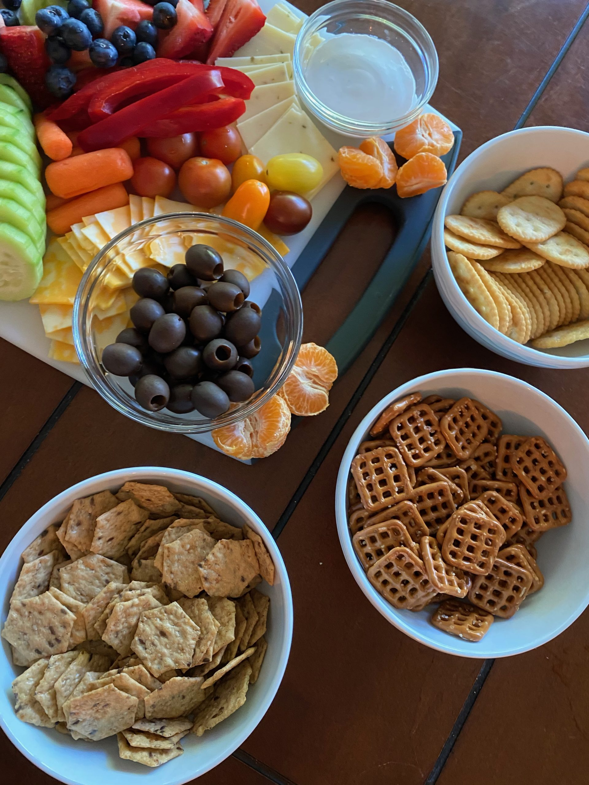 snacks on board and in bowls