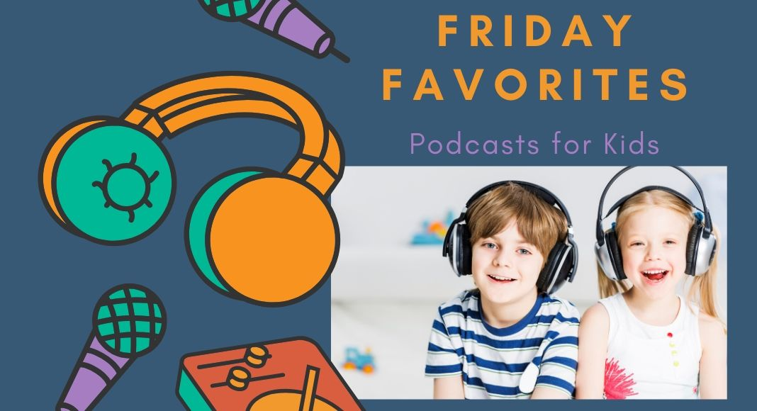 podcasts for kids logo with kids with headphones