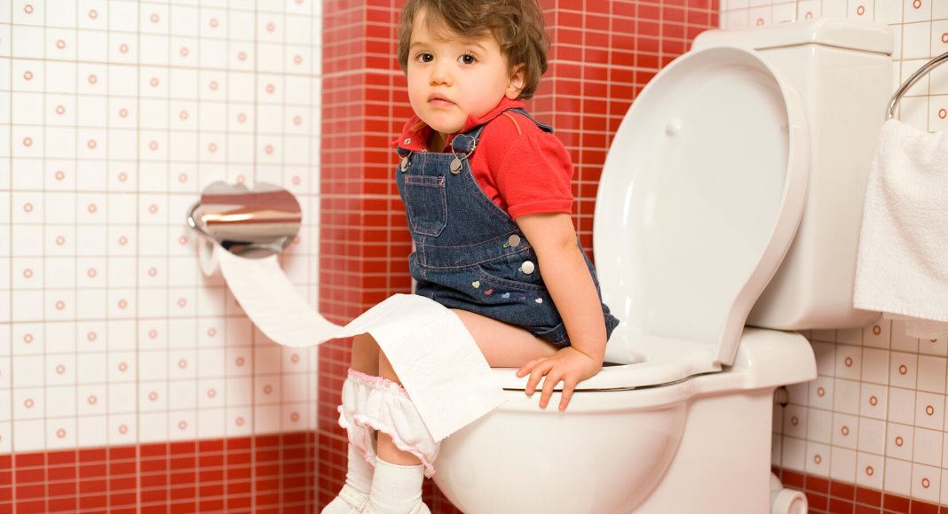 young child sitting on the potty