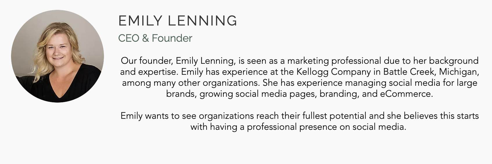 Picture of woman smiling with a bio for Emily Lenning, CEO and founder of Blossom Marketing