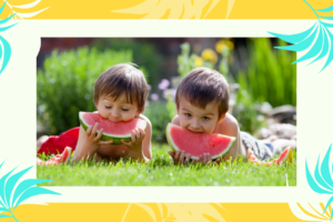 kids eating watermelon in summer
