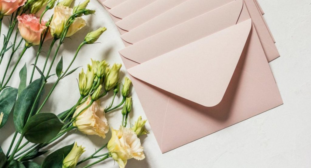 mail envelopes with flowers