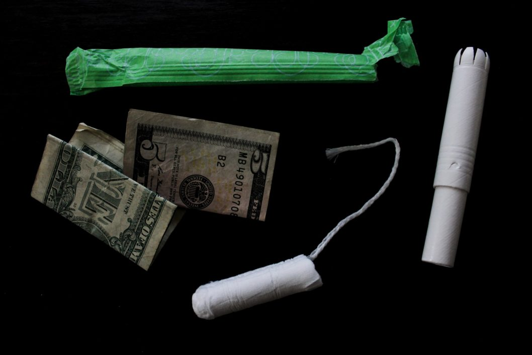 tampons and period products with money