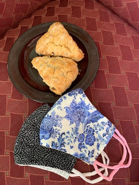 scones and masks on table